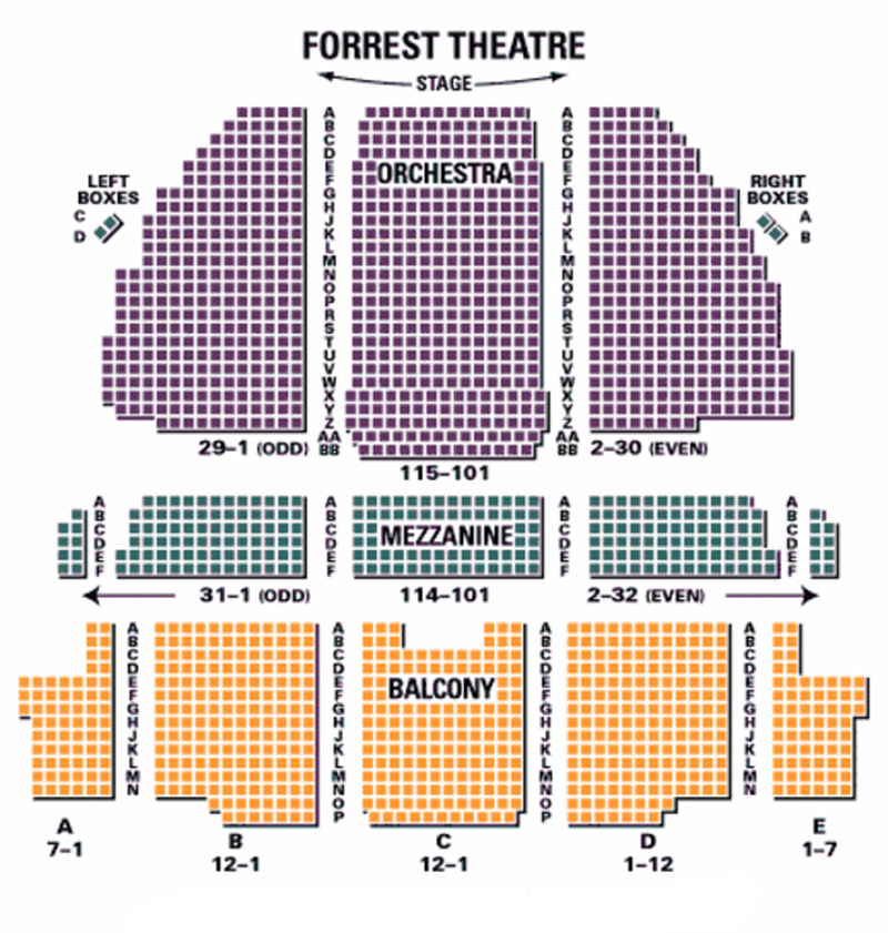 Forrest Theatre Seating Chart