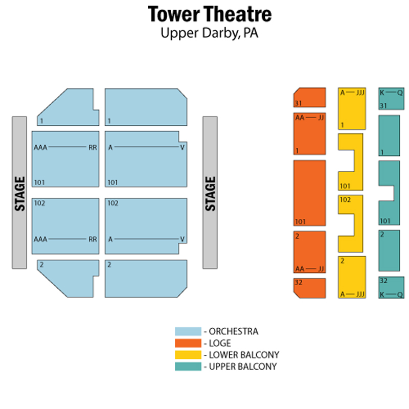 Tower theater seating chart theatre in philly